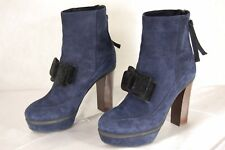 MARNI MADE IN ITALY NAVY BLUE SUEDE HI HEEL PLATFORM BOW ANKLE BOOTS EU 39 US 9