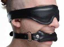 Strict Faux Leather Padded Blindfold and Gag Set Bondage Mask Kinky Adult Discre