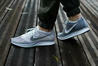 MENS 9.5 WOMENS 10 NIKE FLYKNIT RACER SHOES PURE PLATINUM GREY WHITE 526628 608