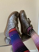 Grey Crushed Velvet Faux Creepers Sneakers Akira Size 9