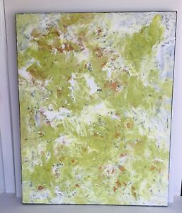 ABSTRACT Green Gold  Mood Painting On Canvas Original Wall Art By Kim Magee