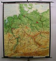 Schulwandkarte Wandkarte Karte Deutschland BRD DDR Germany map card 188x219 1975