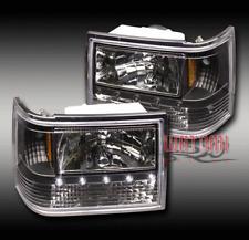 93-98 JEEP GRAND CHEROKEE LED CRYSTAL BLACK HEAD LIGHT LAMP+CORNER+BUMPER SIGNAL