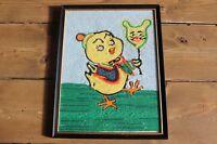 Vintage Outsider Folk Art Yarn Art Chicken Balloon Chickadee Framed 9.25 x 12.25