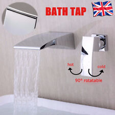 Waterfall Wall Mounted Mixer Tap Mono Bath Bathroom Spout Filler Sink Faucet UK
