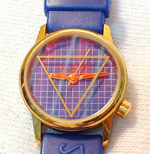 Guess Blue Ladies Water Resistant Watch w/ Matching Blue Vinyl Strap