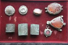 Group 1819th Century Ad Near Eastern 3 silver mount Pendant,3 Rings,2 Buttons