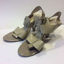 Womens Saks Fifth Avenue Leather Taupe Shiny Gray Beige Open Toe Sandals heels 7