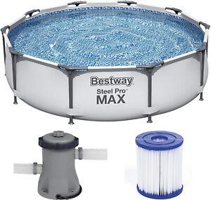 BESTWAY STEEL PRO MAX 305 x 76cm - Gartenpool Schwimmbecken Set mit Filterpumpe