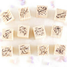 Hot fun Cat Wooden Rubber Stamp Box for DIY Diary Writing Scrapbook 12pcs/set