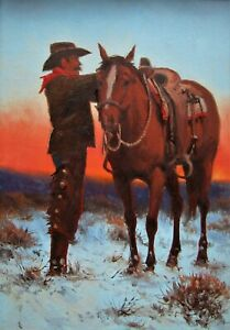 LISTED Harold Lyon Cowboy & Horse in Winter Landscape Older Oil Painting #4 NR