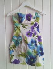 LOVELY BLUE & PURPLE FLOWER SUMMER CORSET MINI DRESS BY TWENTYONE - SIZE S / 6-8