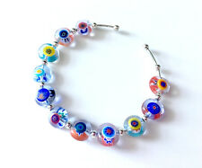 *** NEW MURANO MILLEFIORI GLASS BEADS ART Silver Bracelet ***