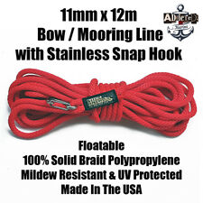 Docking Braid Dock Rope 11mm x 12.1m / 40ft Polyproplylene Bow Line RED!