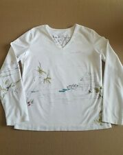 CHICO'S Chat-Tees Size 0 Get Away Vacation White Knit Shirt Top Girls Dogs Hut