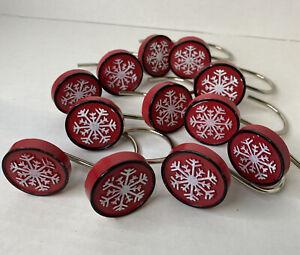 Snowflake Christmas Shower Curtain Hooks Set Of 12 Resin Holiday Bathroom Decor