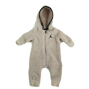 Jordan Coverall 3 Months Sherpa Ivory Logo One Piece Baby Hooded Coat Bunting