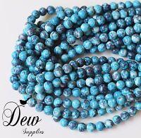47 x Blue Jade Round Beads, Natural Jade - Rain Flower Stone 8mm