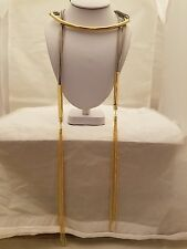 Gray Suede 60 Inch Wrap Necklace With Gold Tube And Gold Tassel Endings