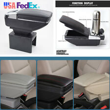 Black PU Leather Car Container Armrest Box Central Store Content Box Cup Holder