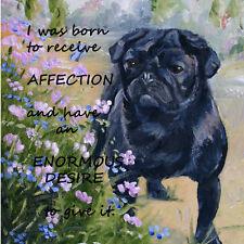 PUG BLACK DOG NEW HARDBOARD PLAQUE TILE OIL PAINTING PRINT SANDRA COEN ARTIST