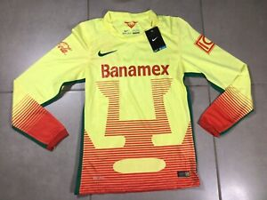 RARE Men's NIKE UNAM Pumas 2015 Sz S Soccer Futbol Jersey Shirt mexico yellow