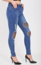 Denim Wise Ladies Fishnet Detail Stretched Denim Jeans In Blue Size 6-14