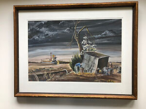 MCM WATERCOLOR MODERNIST PAINTING Philip Russell 1950 Oilfield Signed