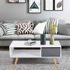 Modern Coffee Table Wood Living Room Shelf Drawer White Side End Furniture Stand