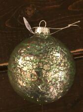 New Hand Blown Glass Christmas Tree Ornament Mercury Ball Silver Green Drizzle