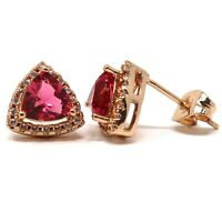 Large 2Ct Triangle Red Ruby Women Wedding Earrings Jewelry 14K Rose Gold Plated
