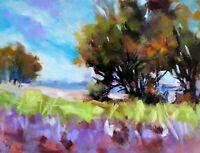 "Original Oil Painting ~""Summer Skies Landscape""~6""  x  8"" Oil On  Panel"