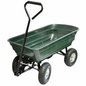 75L 120kg Tipper Truck 4 Wheel Trolley Garden Wheelbarrow Wagon Festival Cart