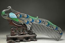 HIGH-GRADE BOUTIQUE CHINESE CLOISONNE COPPER OLD HANDWORK PEACOCK COMB