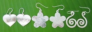 REAL 925 sterling silver heart - flower- Swirl drop hook earrings - GIRL WOMEN