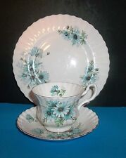 "ROYAL ALBERT  ""MARGUERITE""  TEACUP,PLATE AND SAUCER SET IN BLUE DAISY PRINT"