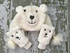 Girls Baby Gap Fuzzy Sherpa Bear White Hat and Mittens
