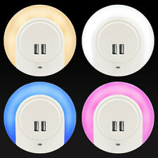 Automatic LED Night Light Plug in with 2 USB Ports 3 Mode Settings Auto /On/ Off