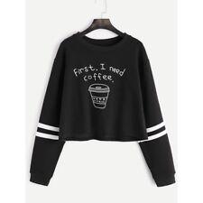 Women Hoodies Jumper Sweatshirt Sweater Crop Short Top Coat Sports Pullover