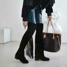 New Winter Fashion Women's Round Toe Tassle Flats Heels Knee High Boots shoes