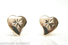 9ct Gold diamond cut Heart Stud Earrings Made in UK Gift Boxed