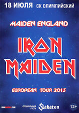 IRON MAIDEN, MOSCOW 2013 SHOW, FLYER CARD