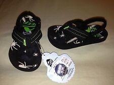 NEW REEF AHI FLIP FLOPS INFANT SZ 3R BLACK GREEN WHITE GLOW IN THE DARK BUGS