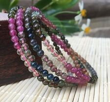 Three rows Natural Colorful Tourmaline Crystal Beads Woman Bracelet Aaa 4-4.1mm