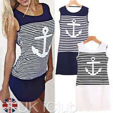 Crew Neck Casual Sundresses Striped Dresses for Women