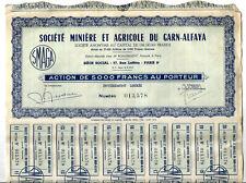 Action des Mines de Garn-Alfaya en Tunisie.Années 50.Voir les 2 documents.