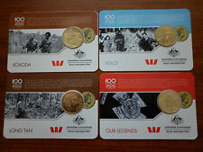 Anzac To Afghanistan Set Of 4 25 cents Collectors Gold coins
