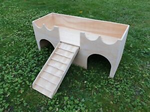 RABBIT LARGE CASTLE SHELTER TWO TIERED HOUSE HIDEAWAY EXERCISE PLAYHOUSE