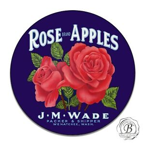 Vintage Reproduction Design Rose Brand Apples Red Roses Round Aluminum Sign