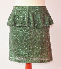 Green Sequin Mini Skirt Emerald Missguided Peplum Sparkle Festival Party Size 8